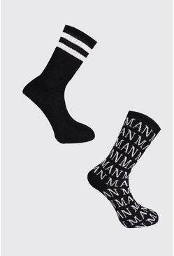 Black 2 Pack Roman MAN Sock