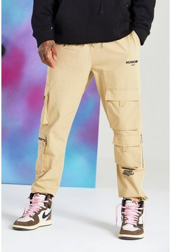 Stone Quavo Cargo Pants With Drawcord Cuff