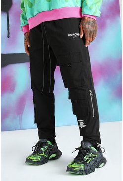 Black Quavo Cargo Pants With Drawcord Cuff