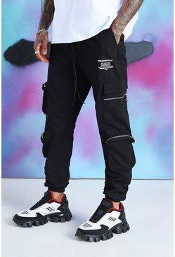 Black Quavo Cargo Pants With Zip Pockets