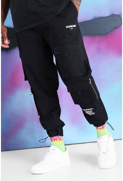 Black Big And Tall Quavo Cargo Drawcord Cuff Pants