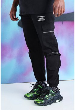 Black Big And Tall Quavo Cargo Zip Pockets Pants