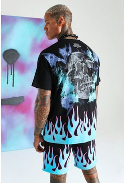 Black Quavo Loose Fit Skull And Flame T-Shirt