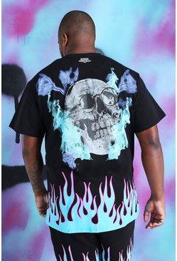 Black Big and Tall Loose Fit Quavo Skull T-Shirt