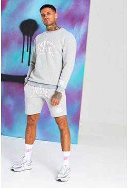 Grey marl Quavo Limited Print Short Tracksuit
