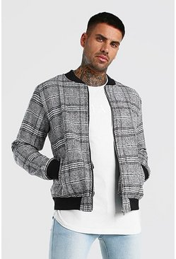 Powder blue Check Wool Look Bomber Jacket