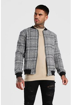 Stone Check Wool Look Bomber Jacket