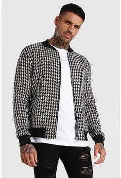 Camel Wool Look Houndstooth Bomber Jacket
