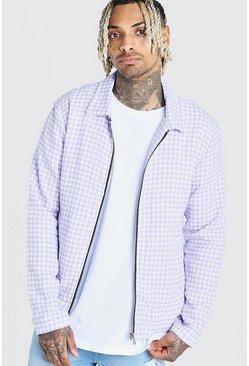 Lilac Wool Look Houndstooth Harrington Jacket