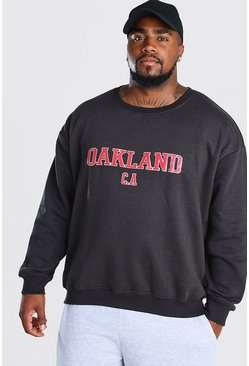 Black Big And Tall Oakland Varsity Sweater