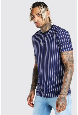 Navy Vertical Stripe T-Shirt