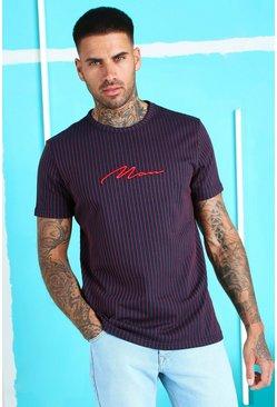 Navy MAN Signature Jacquard Pinstripe T-Shirt