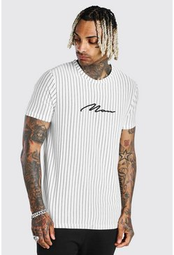 White MAN Signature Vertical Jacquard Stripe T-Shirt
