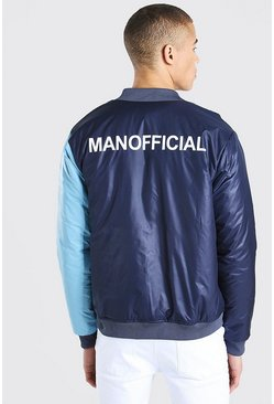 Navy MAN Official Half And Half Colour Block Bomber
