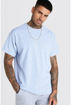 Oversized MAN Signature Blue Marl T-Shirt
