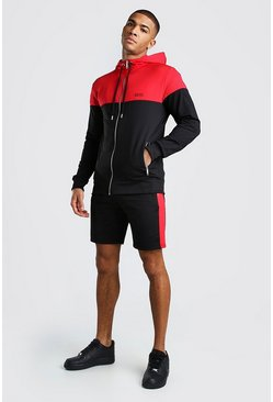 Black Original MAN Colour Block Short Tracksuit