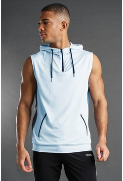 Blue MAN Active Poly Sleeveless Hooded Panelled Top