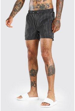 Black Mid Length Pin Stripe Swim Short