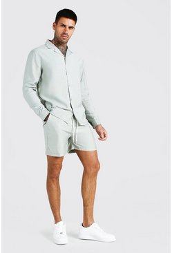 Sage Long Sleeve Smart Shirt And Short Set