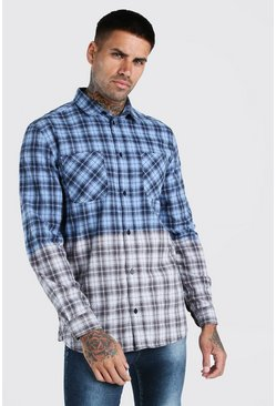 Lilac Long Sleeve Ombre Check Shirt