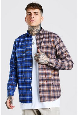 Blue Long Sleeve Mix Match Check Shirt