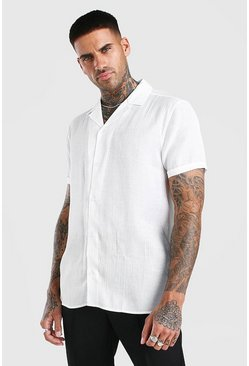 White Short Sleeve Revere Collar Party Shirt