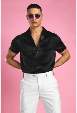 Black Short Sleeve Revere Collar Satin Party Shirt
