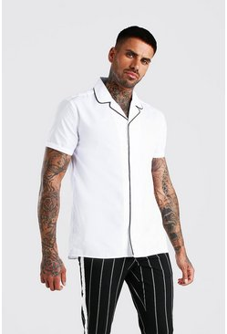 White Short Sleeve Revere Collar Shirt With Piping