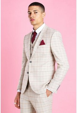 Taupe Skinny Check Suit Jacket