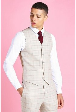 Taupe Skinny Check Suit Vest