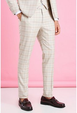 Taupe Skinny Check Suit Pants