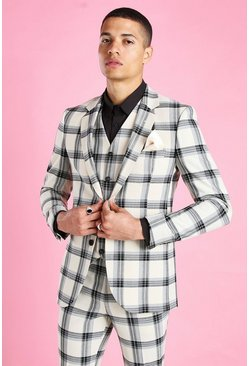 Ecru Super Skinny Windowpane Check Suit Jacket