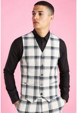Ecru Super Skinny Windowpane Check Vest