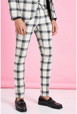 Ecru Super Skinny Windowpane Check Suit Pants