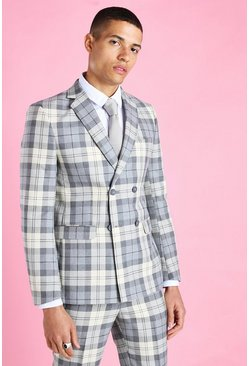 Ecru Skinny Check Double Breasted Suit Jacket