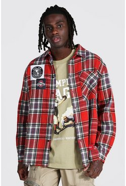 Red Oversized Check Shirt With Varsity Badges