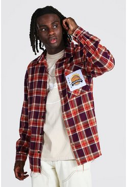 Purple Oversized Check Shirt With Varsity Badge