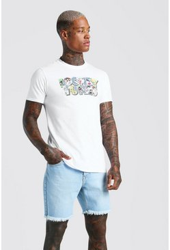 White Looney Tunes Character Print Licensed T-Shirt