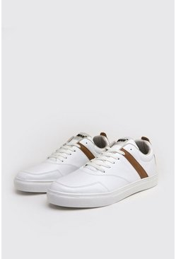 White Tumbled PU Lace Up Sneakers