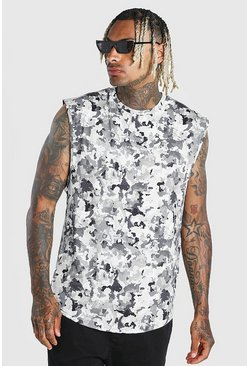 Grey MAN Official Camo Print Drop Arm Hole Tank