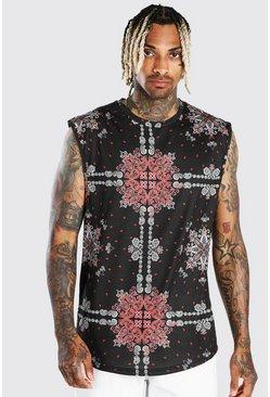 Black All Over Bandana Print Drop Arm Hole Tank