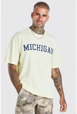 Yellow Oversized Michigan Acid Wash Varsity T-Shirt