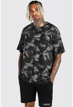 Black Oversized MAN Official Brushed Camo Print T-Shirt