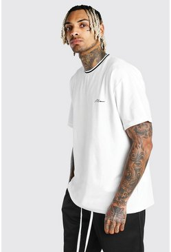 White MAN Signature Velour Oversized T-Shirt