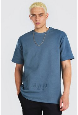 Blue MAN Roman Embossed Short Sleeve Sweat With Zips