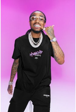 Black Quavo Loose Fit T-Shirt With Huncho Print