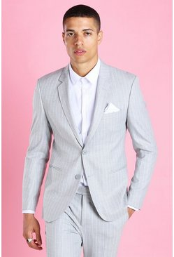 Light grey Skinny Pinstripe Suit Jacket