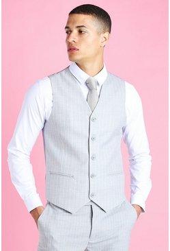 Light grey Skinny Pinstripe Suit Vest