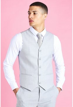 Light grey Skinny Pinstripe Suit Vest
