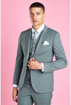 Green Skinny Windowpane Check Suit Jacket